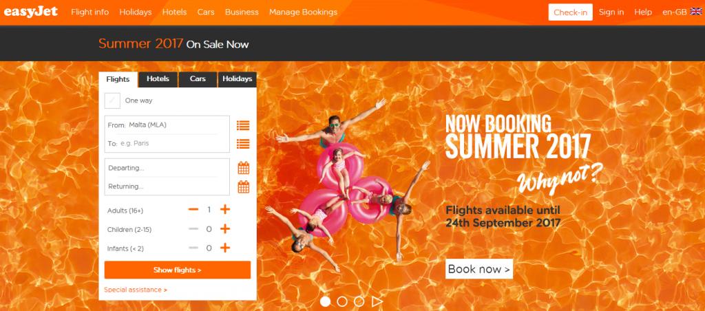 Easyjet booking summer 2017