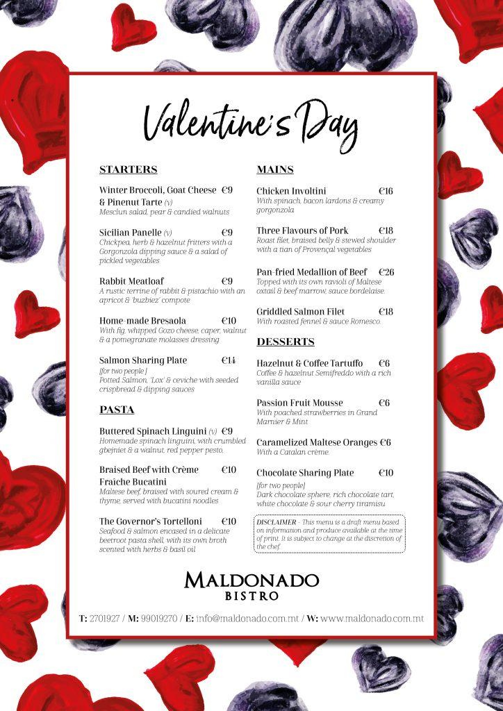 Valentines menu 2018 - Valentine Gozo