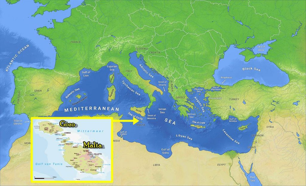 Where is Gozo island, Malta map
