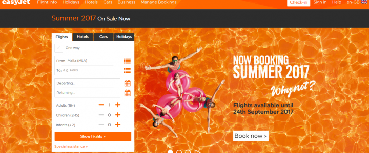 Easyjet booking summer 2017