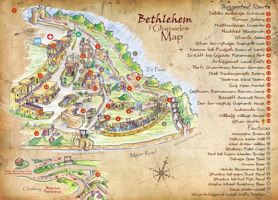 Bethlehem in Ghajnsielem Gozo Malta map